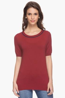 VAN HEUSEN Womens Solid Round Neck Top