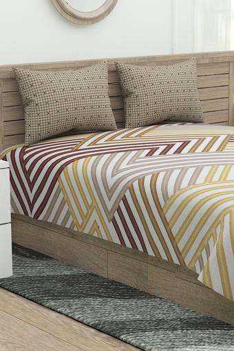 Marvella Striped Double Bed Sheet with 2 Pillow Covers