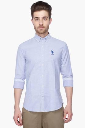 U.s. Polo Assn. Formal Shirts (Men's) - Mens Full Sleeves Casual Slub Shirt