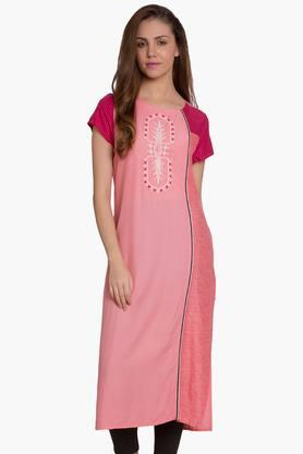 DESI BELLE Womens Colour Block Round Neck Kurta