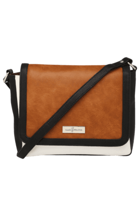 ELLIZA DONATEIN Womens Leather Snap Closure Sling Bag