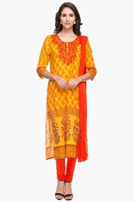 STOP Womens Round Neck Printed Kurta And Churidar Set