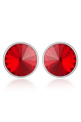 MAHI Mahi Rhodium Plated Bold Red Earrings Made With Swarovski Elements For Women ER1104084RRed