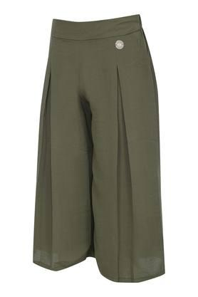 Girls Solid Pleated Front Pants
