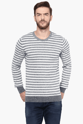 CELIO Mens Full Sleeves Round Neck Regular Fit Stripe Sweater