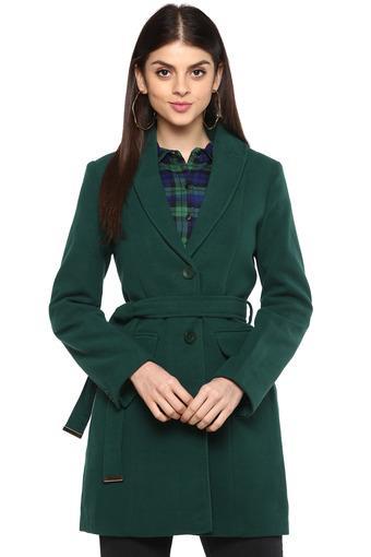 Womens Notched Lapel Slub Knitted Coat