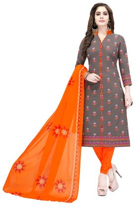Womens Printed Unstitched Churidar Suit Dress Material with Dupatta Combo of 2