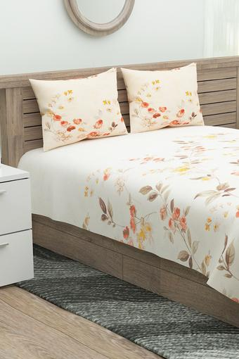 Floral Printed Single Bed Sheet with 1 Pillow Cover