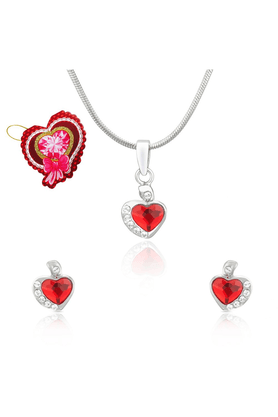 MAHI Mahi Red And White Heart Pendant Set Made With Swarovski Elements With Heart Shaped Card For Women NL5104116RRedCd