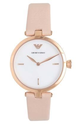 Womens White Dial Analogue Leather Watch - AR11199I