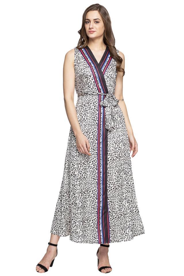 Womens Surplice Neck Printed Maxi Dress