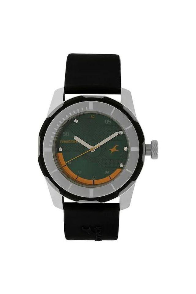 Mens Green Dial Plastic Analogue Watch - NK3099SP06
