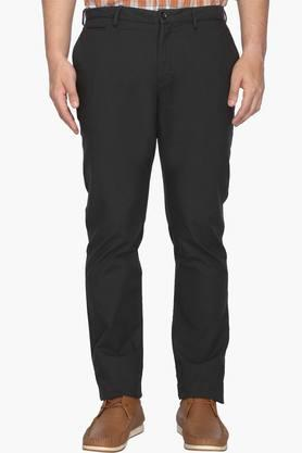 BLACKBERRYS Mens Slim Fit 5 Pocket Solid Trousers  ... - 202123906