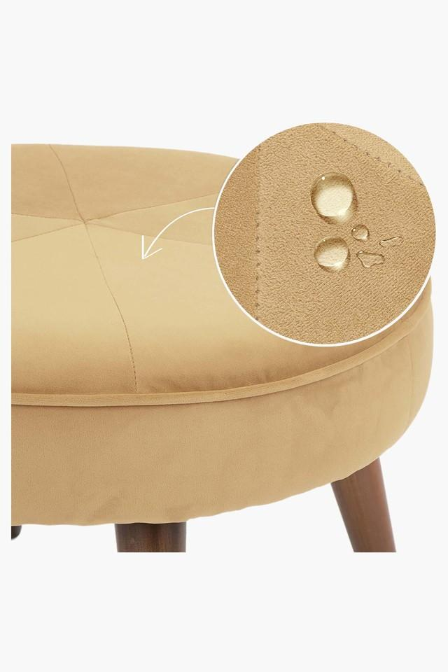 Tan Water Repellent Fabric Pouf