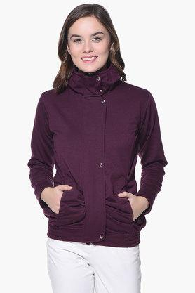 PURYS Womens High Neck Solid Jacket - 201998857_9667