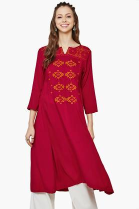 GLOBAL DESI Womens Embroidered Flared Kurta