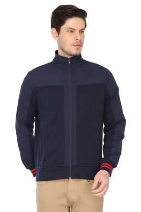 Mens Zip Through Neck Solid Jacket