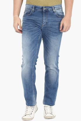 INDIAN TERRAIN Mens Slim Fit Heavy Wash Jeans