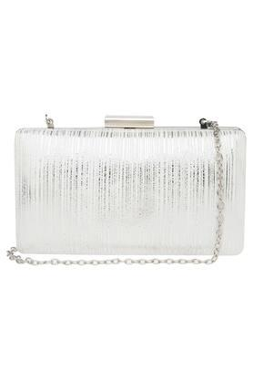 Womens Party Wear Metallic Lock Closure Sling Clutch