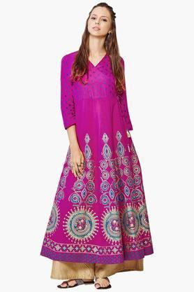 GLOBAL DESI Womens Printed Wrap Kurta