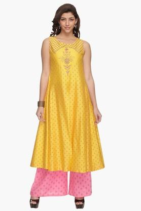 Womens Printed Embroidered Kurta Palazzo Set