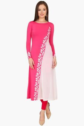 IRA SOLEILWomens A Line Fit Colour Block Kurta (Buy Any Ira Soleil Product And Get A Charms Bracelet Free)