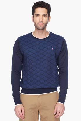 LOUIS PHILIPPE SPORTSMens Round Neck Check Sweater