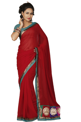 DEMARCAWomen Chiffon Saree (Buy Any Demarca Product & Get A Pair Of Matching Earrings Free)