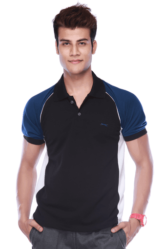 4a91fe43 Buy BLACK PANTHER Mens Short Sleeves Regular Fit Solid Polo T-Shirt |  Shoppers Stop
