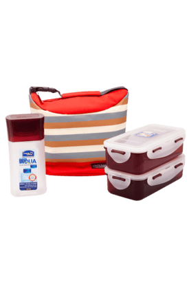 LOCK & LOCK Lunch Box Set With Red Stripes Bag