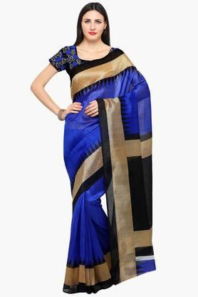ISHIN Women Bhagalpuri Art Silk Zari Border With Embroidered Blouse Saree