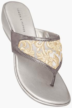 LEMON & PEPPERWomens Party Wear Slipon Fancy Wedge Sandal - 200312800