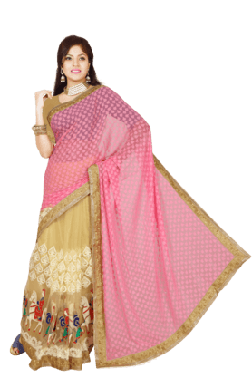DEMARCA Womens Brasso Net Saree (Buy Any Demarca Product & Get A Pair Of Matching Earrings Free)