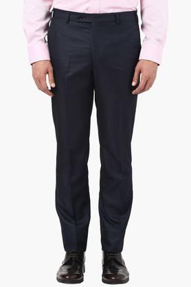PARK AVENUE Mens Skinny Fit 4 Pocket Solid Formal Trousers  ...