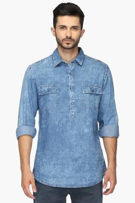 Mens Regular Collar Half Button Printed Shirt