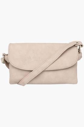 Womens Snap Closure Synthetic Leather Slingbags