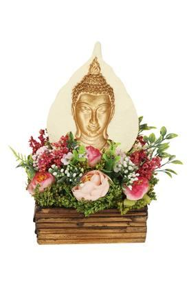 Ranunculus Rose Flower Pot Arrangement with Buddha
