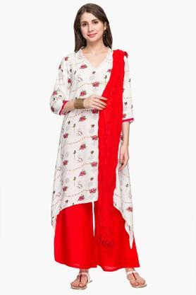 Womens Printed Asymmetrical Palazzo Suit