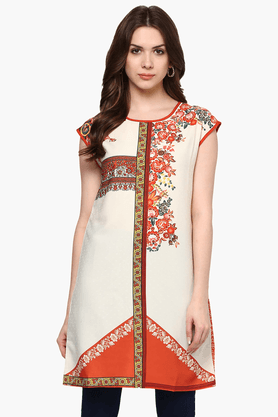 FUSION BEATS Womens Slim Fit Printed Tunic