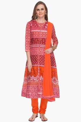 HAUTE CURRYWomens Printed Churidar Suit