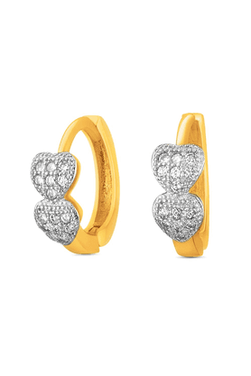 MAHI Mahi Gold Plated Double Heart Stud Earrings With CZ For Women ER1109323G
