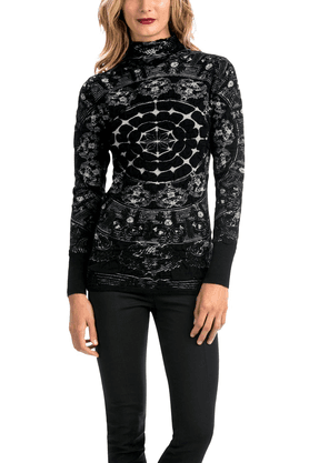 DESIGUAL Women High-Heck Printed Sweater