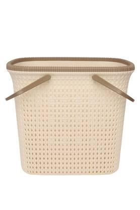 Rectangular Cane Motif Laundry Basket with Handle