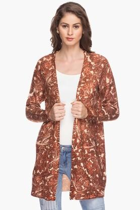 VERO MODA Womens Open Neck Printed Knitted Cardigan