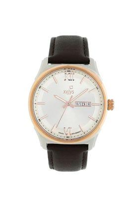 Mens White Dial Leather Analogue Watch - 40023KL01E