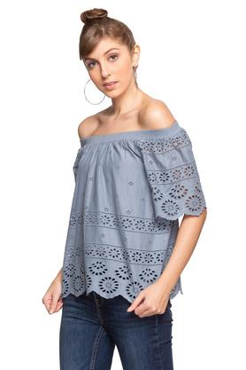 Womens Off Shoulder Neck Perforated Top