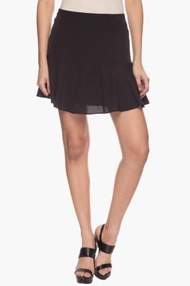 EXCLUSIVE LINES FROM BRANDS Womens Solid Flared Mini Skirt