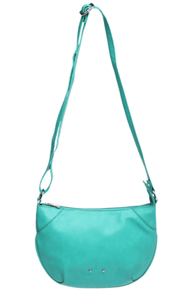 ELLIZA DONATEIN Womens Turquoise Curved Sling Bag