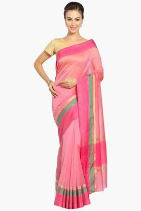 JASHN Women Chanderi Saree With Zari Border - 202444472
