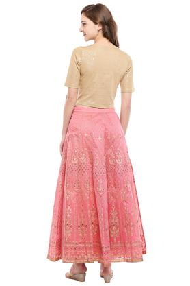 Womens Round Neck Printed Embellished Skirt and Top Set